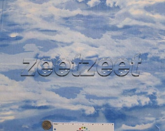SKY BLUE with CLOUDS 100% Cotton Quilting Weight Fabric by the Yard, Half-yard or Fq Fat Quarter