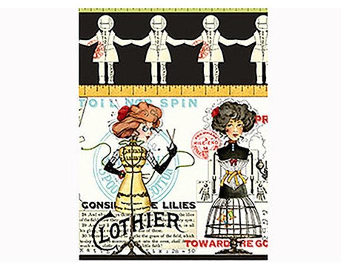 "SCENIC STRIPE Ecru/Black ""She Who Sews"" Printed Cotton Quilt Fabric by the Yard, Half Yard, or Fat Quarter Fq Sewing Steampunk Steampunk"