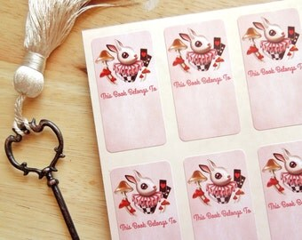 White Rabbit Mini Bookplates, Sheet of 6 Adhesive Labels - Book Lover Gift - Shabby Chic
