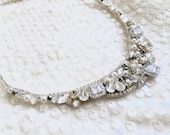 Rhinestone Bridal Bib Necklace, wedding Necklace, handmade rhinestone necklace, collar necklace, swarovski bridal necklace