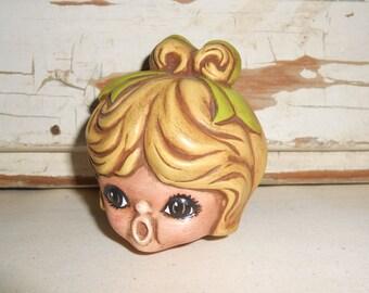 Vintage Ceramic Doll Head, Vintage Doll Parts
