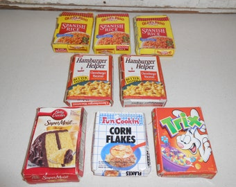 Vintage Play Food Boxes, Vintage Toy Food, Vintage Toys,  Pretend Play