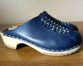 Colbot Blue Leather and Wood Clogs with Woven Details 8