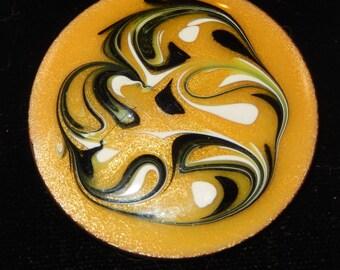 Mid Century Enamel on Copper Modernist Abstract Art Brooch