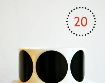 Circle Stickers {2.0inch or 50mm} Black Envelope Seals {20} Wedding Engagement Contemporary Wrap DIY Supplies