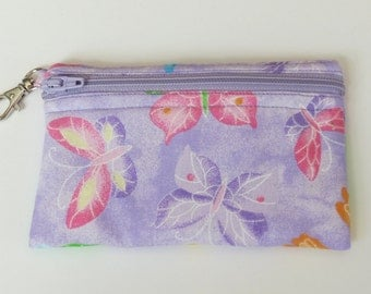 Purple Sparkle Butterflies - Clip Coin Purse with Zipper Front