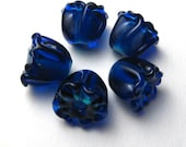 Blue Bell Flowers Lampwork Beads in Cobalt Blue and Turquoise, miniature handmade artisan glass jewelry supplies sra