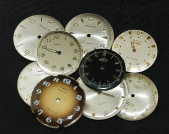 Vintage Antique Watch Dials Steampunk  Faces Parts Altered Art Industrial O 13