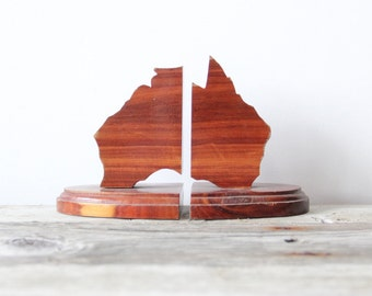 Wooden Australia Bookends