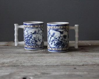 Blue & White Bird Patterned Mugs (Set of 2)