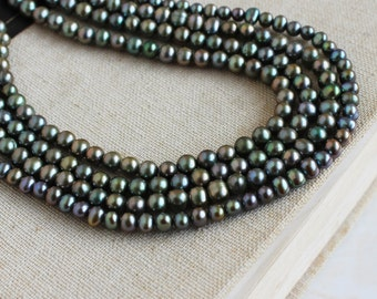 Freshwater Pearl Olive Teal Roundish Potato 6mm 55 beads