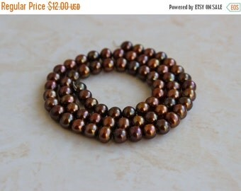 51% Off Sale Freshwater Pearl Copper Bronze Roundish Oval 6.5mm 32 beads 1/2 strand