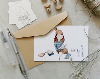 A5 original watercolor print tea drinker postcard