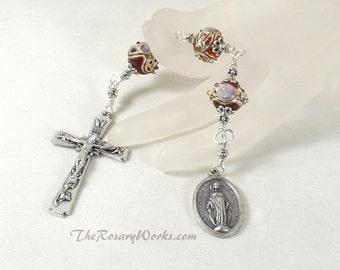 Three Hail Mary Marys Devotion Chaplet Miraculous Medal Handmade Wedding Cake Bead Red Gold Flower Unbreakable Catholic Prayer Gift under 25