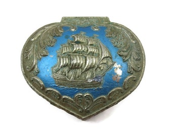 Sailing Ship Trinket Box - Vintage Blue and Silver with Red Lining
