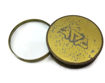Sliding Desk Magnifying Glass - Vintage Brass, Mid Century Paperweight.