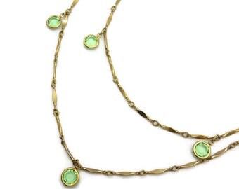 Glass Gem Necklace - Vintage Bezel Set Peridot Green Stones