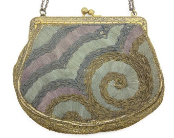 French Embroidered Purse - Blue, Purple, Metallic Threads