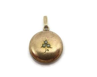 Art Nouveau Pearl Pendant - Gold Fill, Victorian, Puffy Circle, Rose Gold Estate Jewelry