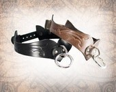 Tribal Curvy Leather Collar, Leather Bondage Collar, Leather Choker, Slave Collar, Leather BDSM Collar (1 Collar Only)