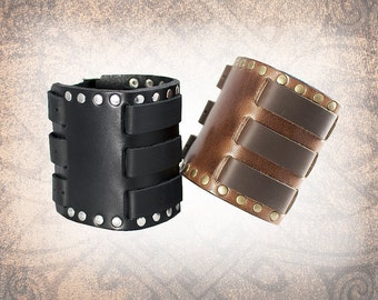 Riveted Leather Cuff, Leather Wristband, Leather Cuff, Leather Bracelet, Black Leather Cuff, Leather Band - Custom to You (1 cuff only)