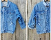 Vintage Denim Jacket  //  Vtg 80s JORDACHE Tapered Jean Jacket with Asymmetric + Two Tone Contrast Details
