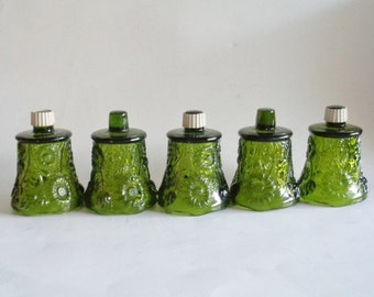 Vintage Green Floral Glass Votives Set of 5