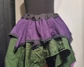 Green Purple Black Trim Layered Skirt size medium 30 to 38 inches wide