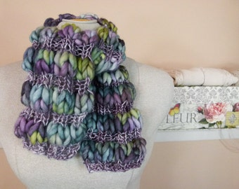 Short Winter Scarf - Warm Hand-Knit Scarf in Puff-Rib - Item 1494