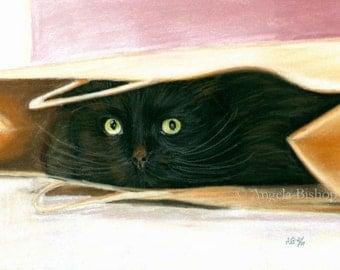 Black Cat Painting Print, Hiding Spot, Cat Print, Art Print, Cat, Pet, Portrait, 5 x 7, Realism, Giclee, Pastel, Painting, Fine Art