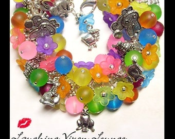 Easter Jewelry - Easter Bracelet - Easter Necklace - Easter Charm Bracelet - Rabbits And Flowers - Easter Bunny Jewelry