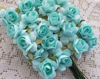 Paper Flowers 24 Small Millinery Roses Aqua
