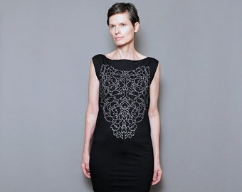 Graphic T shirt Dress, Lace Print on Black T Shirt Dress for Womens, Day to Night