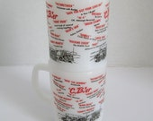 Vintage Fire King Mugs C.B.'er Mug Cup Trucker Mugs Set of 2