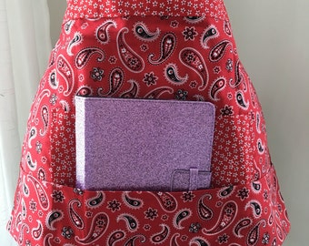 Vendor Apron Half Waist iPad Teacher Craft Red Paisley Fabric (4 Pockets)