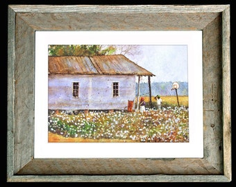 "Cotton Field Share Cropper House Art ""Down In Louisiana"" Barn Wood Framed and Matted Signed Numbered"