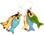 Pisces - Catch of the Day Enameled Fish Earrings - Green & Blue