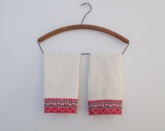 Antique Linens Hand Towels Black and Red Embroiderd Ethnic Style Vintage Style White Cotton Pair Set of Two
