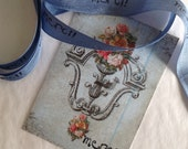 Merci  Blue French Inspired hand stamped ribbon trim - seam binding includes sweet little merci bird gift tag
