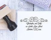 Wedding Address Stamp - Double Ring Initial, Wedding Stamp, Wedding Address Stamp, Wooden Stamp, Self Inking Stamp, Rubber Stamp