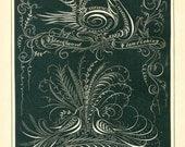 Original Antique 1880 Blackboard Flourishing Calligraphy Print, Pen and Ink Flourishing Print, White on Black, Birds, Eagle, Flowers