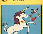 PRINT SALE 20% OFF Vintage 1920's Harrison Cady Illustration, Bookplate  Print Alphabet Letter U for Unicorn w Verse, Original Print