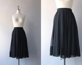 1960s Skirt / Vintage 60s Sheer Black Chiffon Skirt / Nelly de Grab Full Floaty Skirt