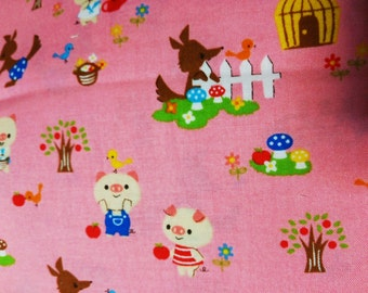 Half Yard Japanese Cotton Fabric 3 Three Little Pigs Wolf Nursery Tales 3 colors to choose