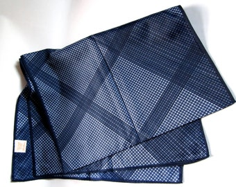 Vintage Glentex weave pattern print navy blue nylon scarf Made in Japan MIJ