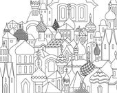 Printable Adult Coloring Page Russian City. Instant Download, relax colouring intricate architectures.