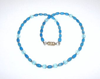 Turquoise Aqua Glass Beaded Necklace with Silver Seed Beads and Magnetic Clasp