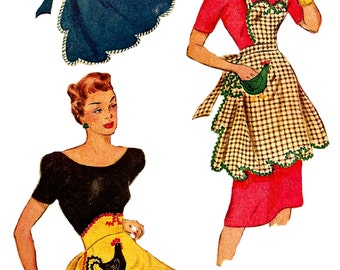 1940s Apron Pattern Tea Hostess Full Bib Half McCall Vintage Sewing Women's Misses One Size