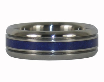Blue Azurite Hawaii Titanium Ring