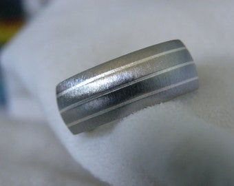 Ring or Wedding Band, Titanium with Silver Pinstripe Inlays, Frosted Finish